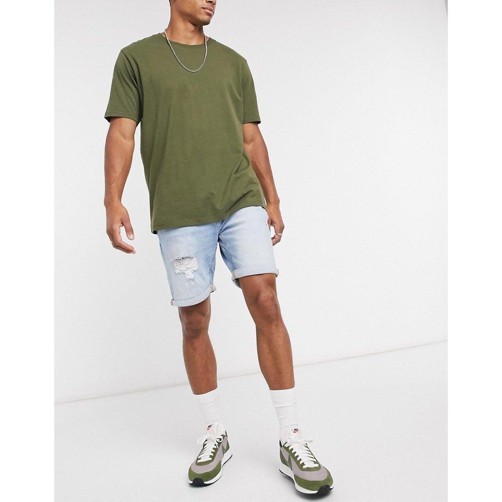 Short en jean déchiré coupe slim - Pull&Bear - Modalova