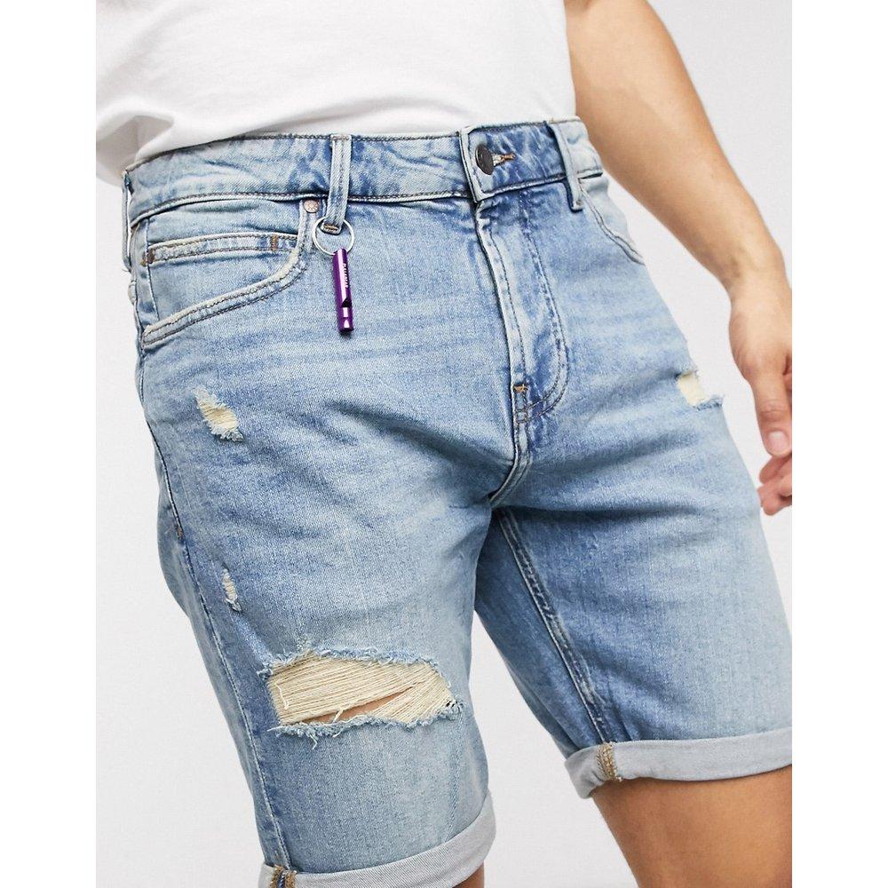 Short slim en jean avec abrasions - clair - Pull&Bear - Modalova