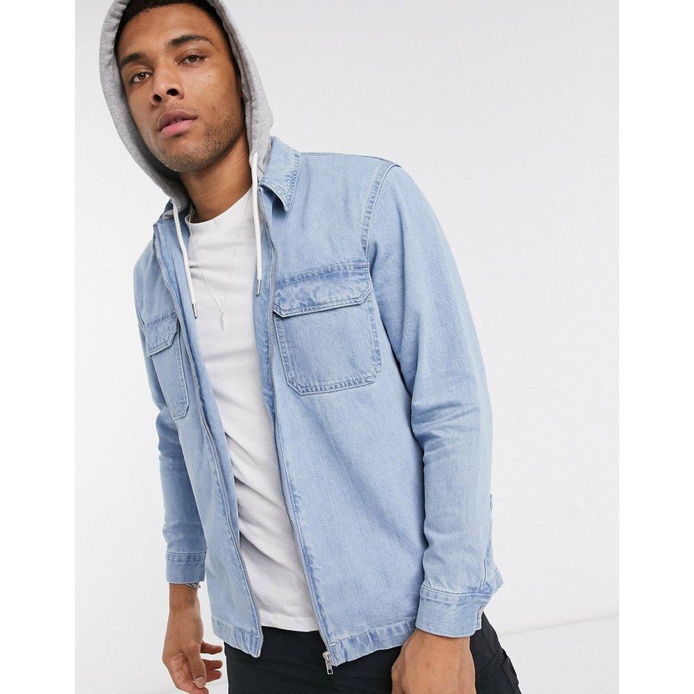 Veste en jean avec capuche en jersey - Pull&Bear - Modalova