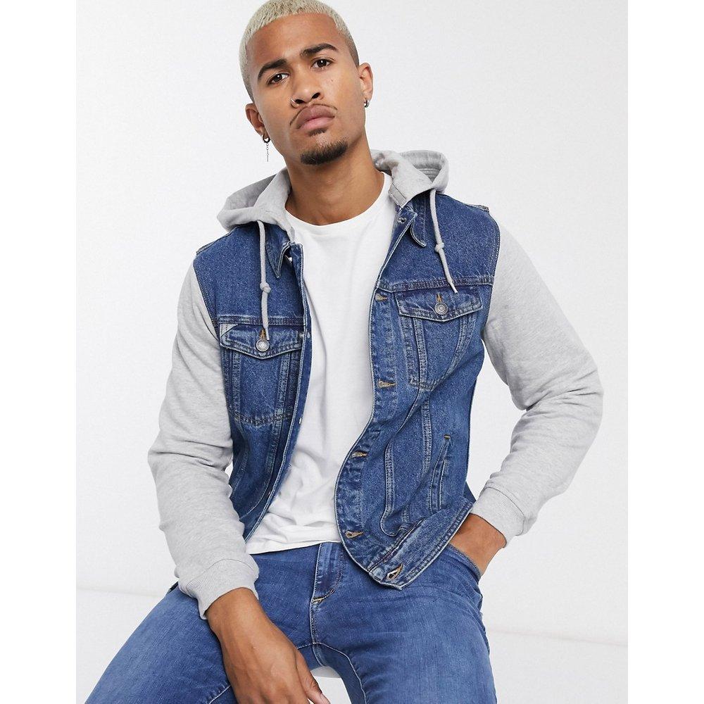 Veste en jean avec manches et capuche en jersey - Pull&Bear - Modalova