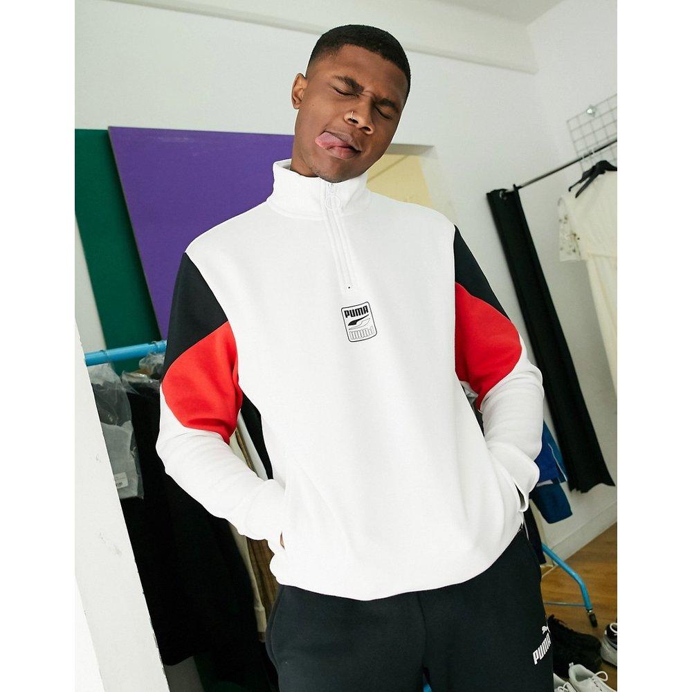 Rebel -Sweat-shirt à petit logo sur la poitrine et demi fermeture éclair - Puma - Modalova