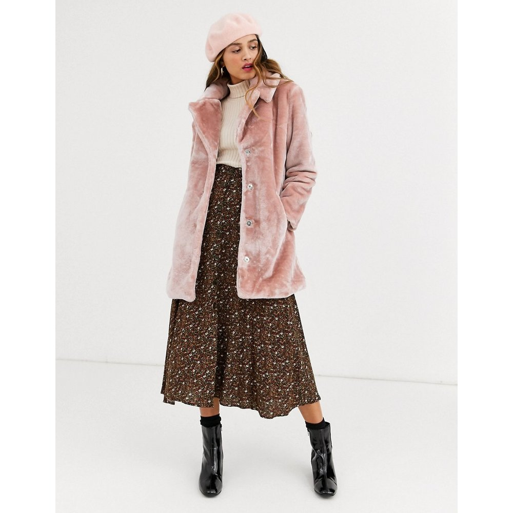 Manteau fausse fourrure - Blush - QED London - Modalova