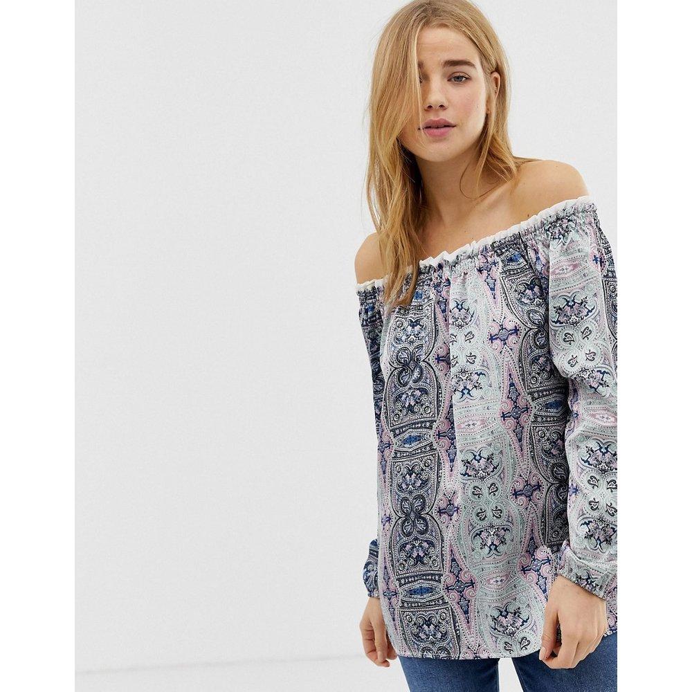 Top style tunique à épaules nues et bords imprimés - QED London - Modalova