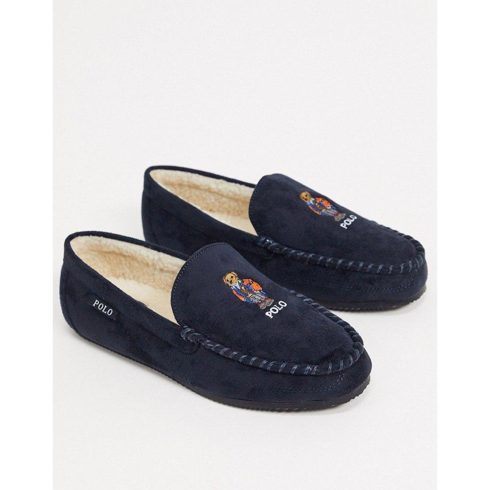 Chaussons style universitaire avec broderie motif ours - Bleu marine - Ralph Lauren - Modalova