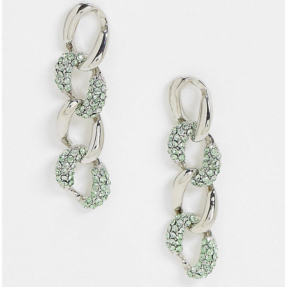 Inspired - Boucles d'oreilles à maillons ornées de pierres vertes - Reclaimed Vintage - Modalova