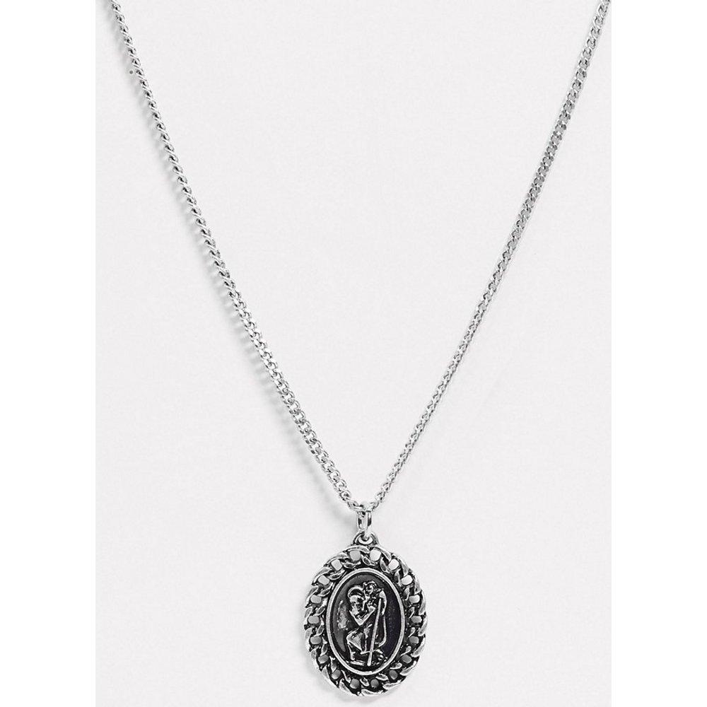 Inspired - Collier à pendentif médaillon -Argent poli - Reclaimed Vintage - Modalova
