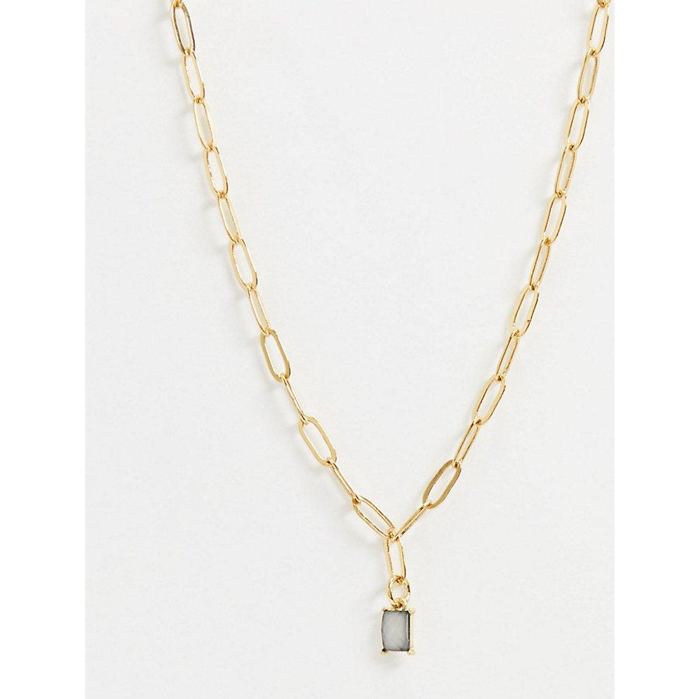 Inspired - Collier chaîne plaqué or 14 carats avec pierre précieuse couleur menthe - Reclaimed Vintage - Modalova