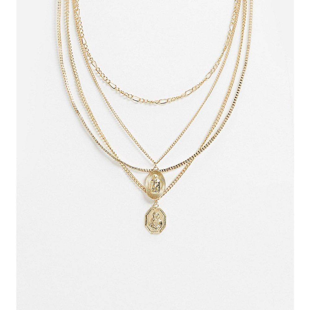 Inspired - Collier multi-rangs avec pendentif Saint-Christophe - Reclaimed Vintage - Modalova