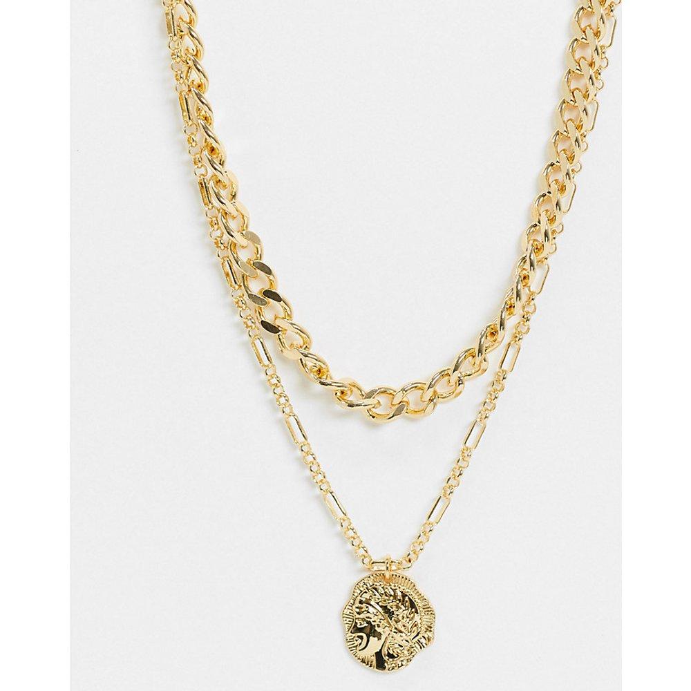 Inspired - Collier multi-rangs de qualité supérieure 14 carats avec pendentif pièce de monnaie - Reclaimed Vintage - Modalova