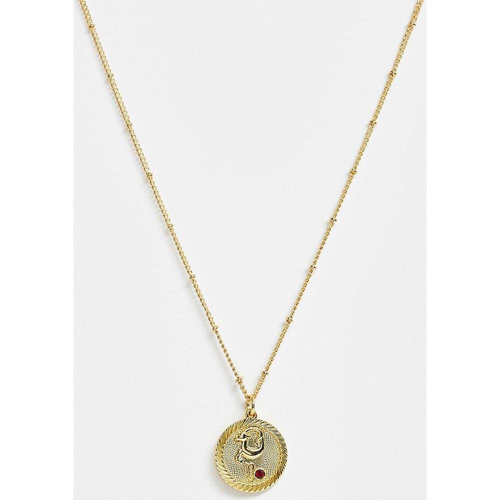 Inspired - Collier pièce de monnaie et signe du zodiaque Capricorne en plaqué or 14carats - Reclaimed Vintage - Modalova