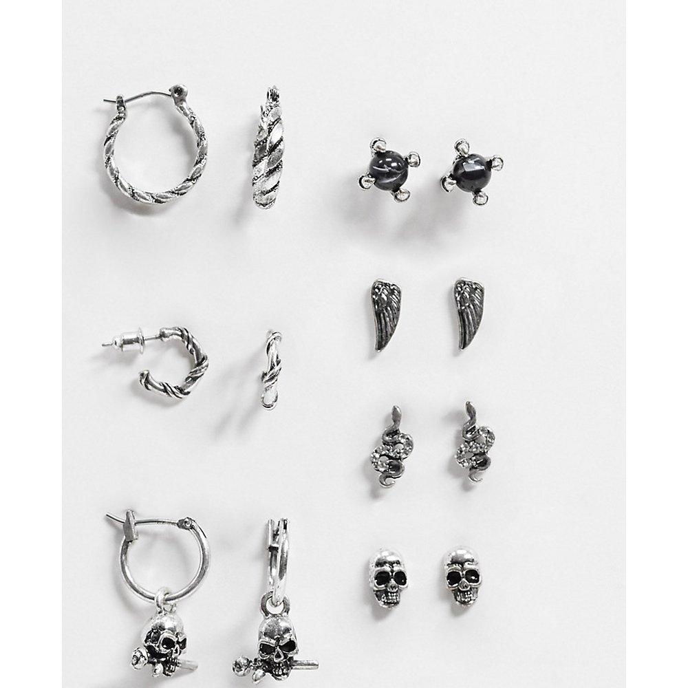 Inspired - Lot de boucles d'oreilles - Argent poli - Reclaimed Vintage - Modalova