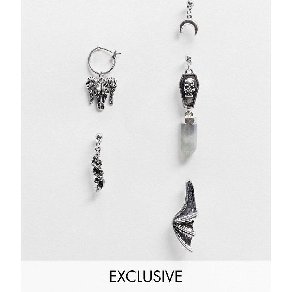 Inspired- Lot de boucles d'oreilles style pendants avec breloques - Argent poli - Reclaimed Vintage - Modalova