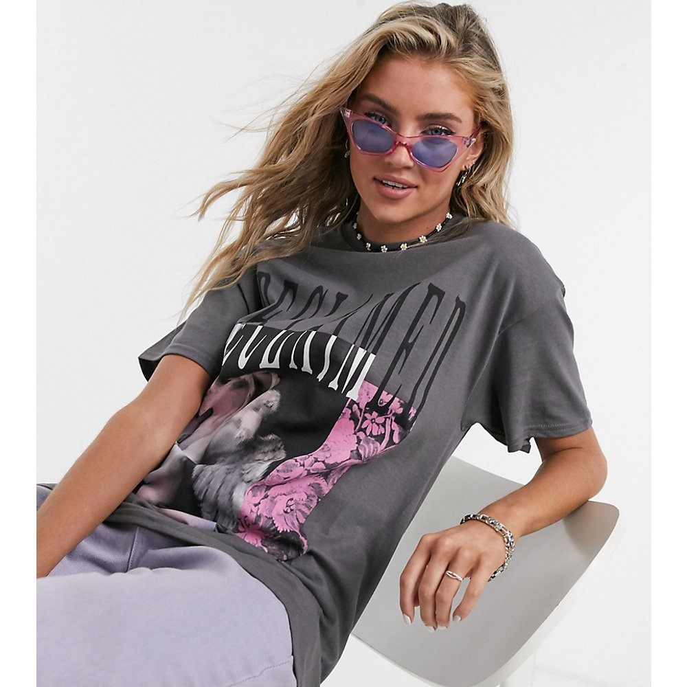 Inspired - T-shirt avec logo imprimé façon collage - Anthracite - Reclaimed Vintage - Modalova