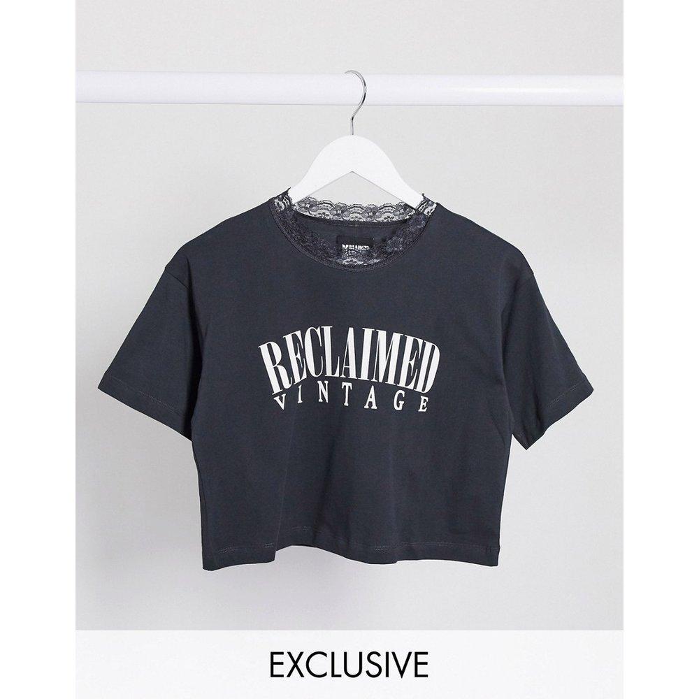 Inspired - T-shirt court avec col en dentelle - Reclaimed Vintage - Modalova