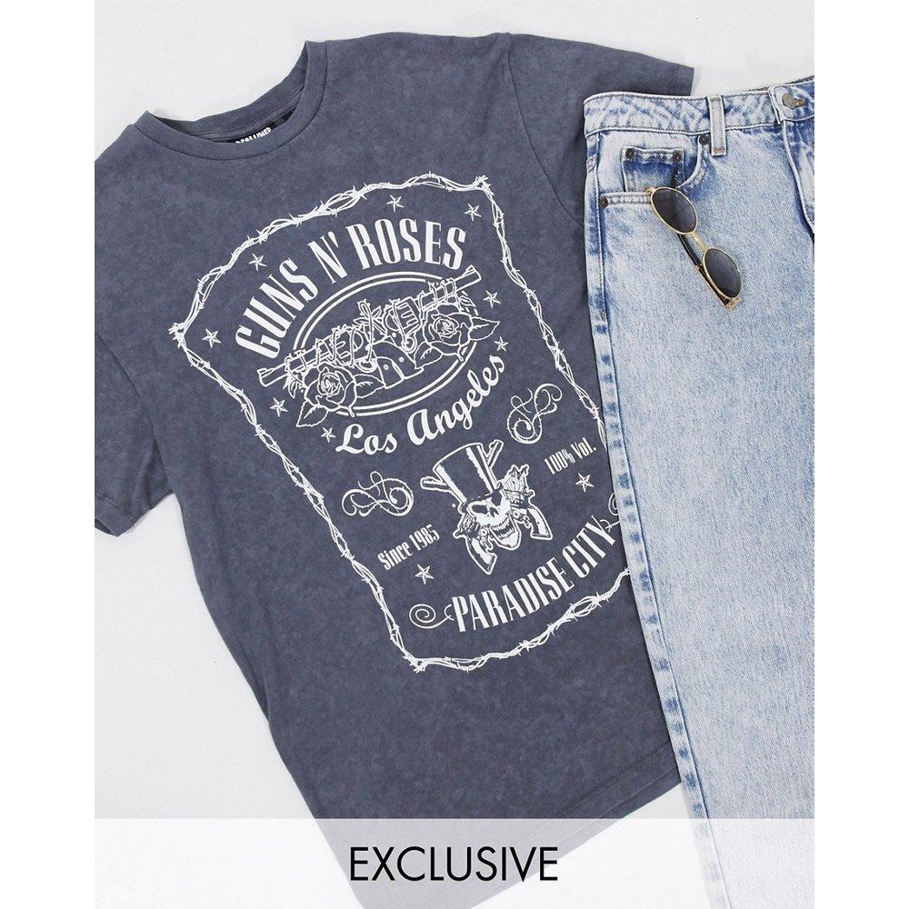 Inspired - T-shirt imprimé Guns and Roses - Anthracite délavé - Reclaimed Vintage - Modalova