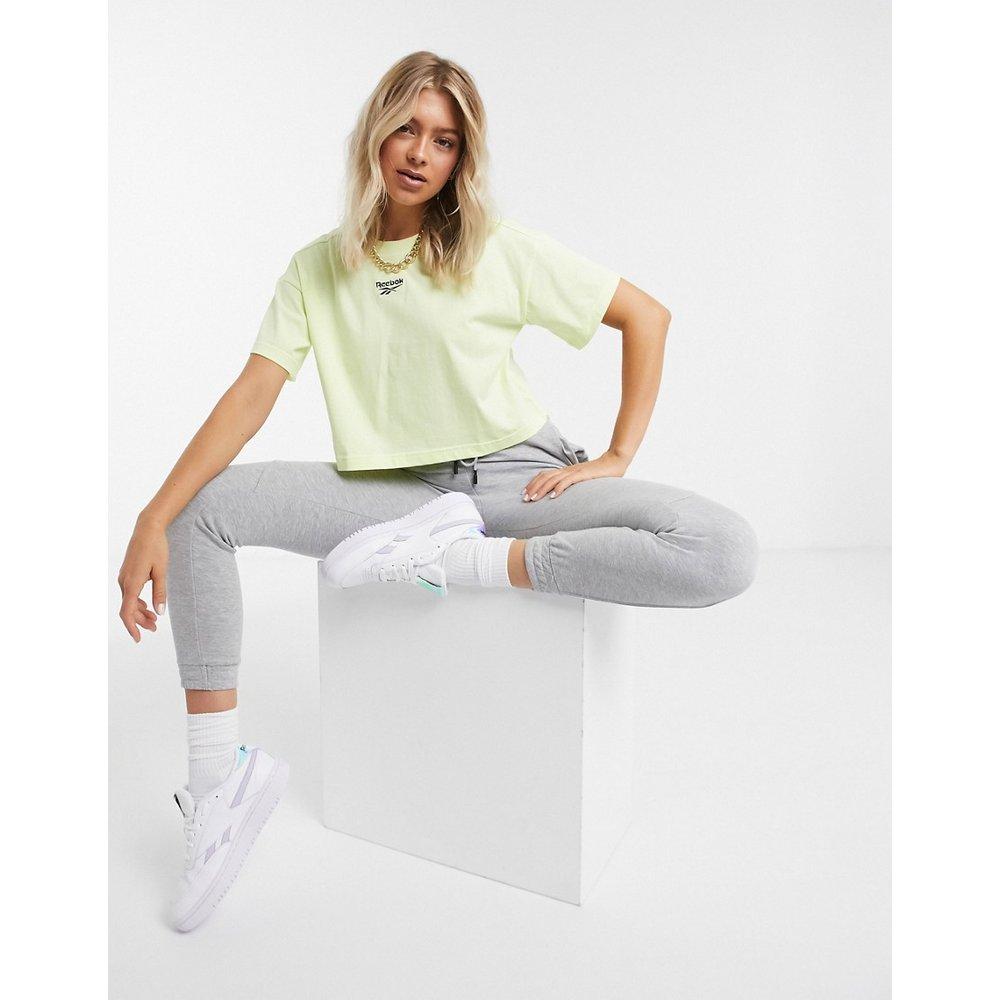 T-shirt crop top à petit logo - Jaune - Reebok - Modalova