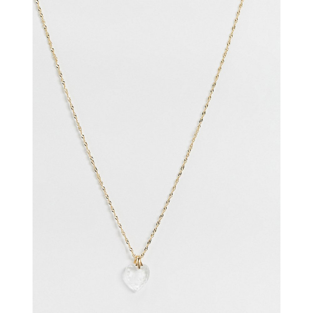 Far & Away - Collier en argent massif plaqué or 18 cts avec pendentif cœur en verre à détail licorne - Regal Rose - Modalova