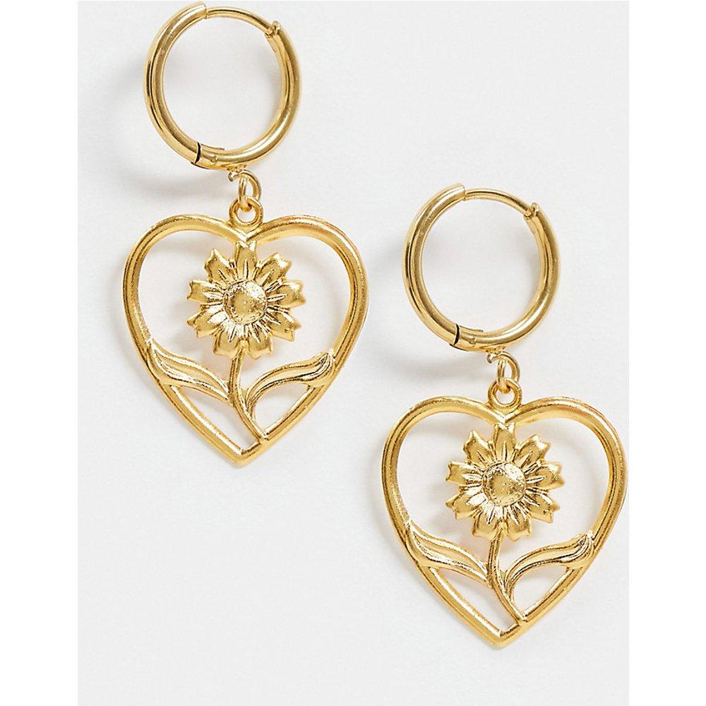 June - Boucles d'oreilles en plaqué or 18 carats en forme de cœur avec fleur - Regal Rose - Modalova