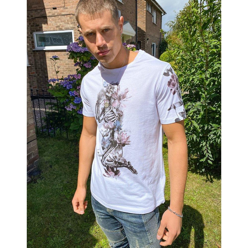 T-shirt à imprimé squelette fleuri - Religion - Modalova