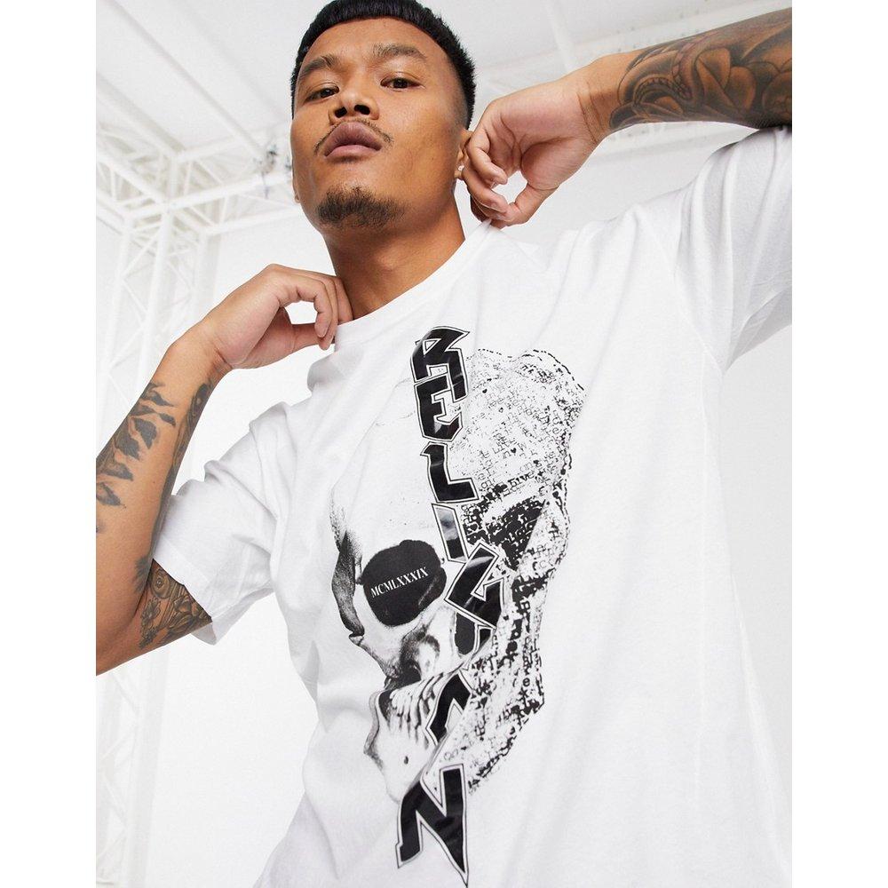 T-shirt séparé en deux avec imprimé tête de mort - Religion - Modalova