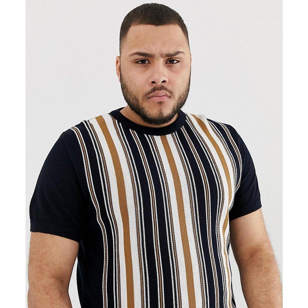Big & Tall - T-shirt à rayures verticales - Bleu marine - River Island - Modalova
