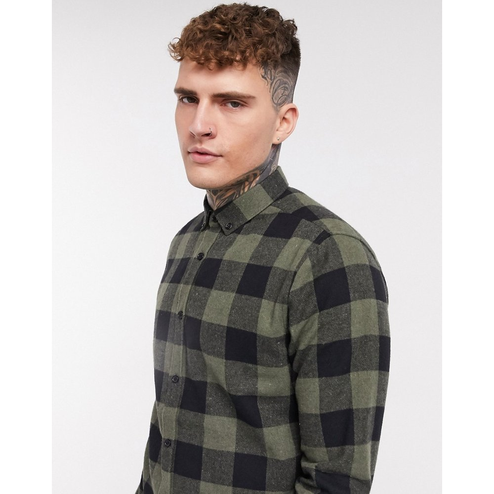 Chemise à carreaux style bûcheron - Kaki - River Island - Modalova