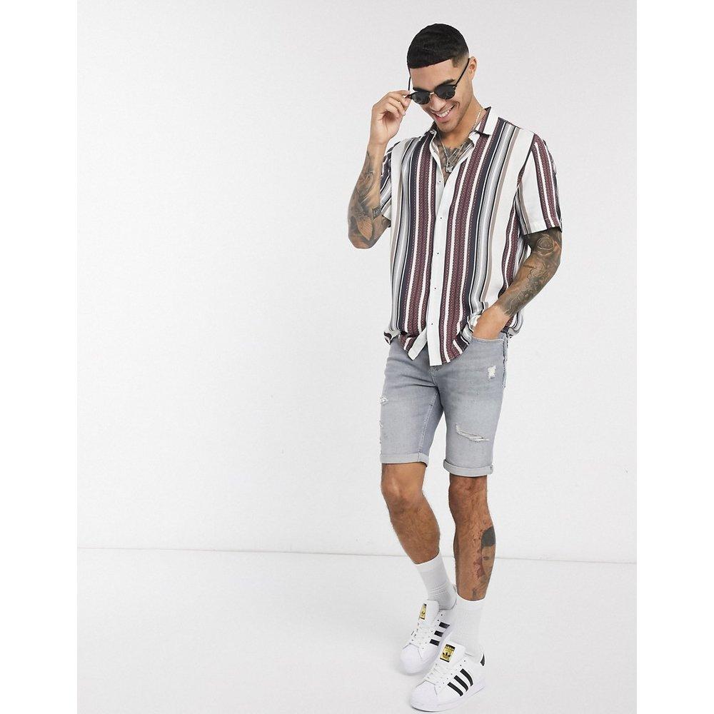Chemise à manches courtes et rayures texturées - River Island - Modalova