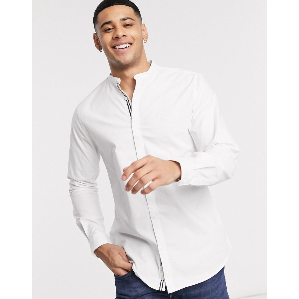 Chemise Oxford coupe slim col grand-père - Blanc - River Island - Modalova