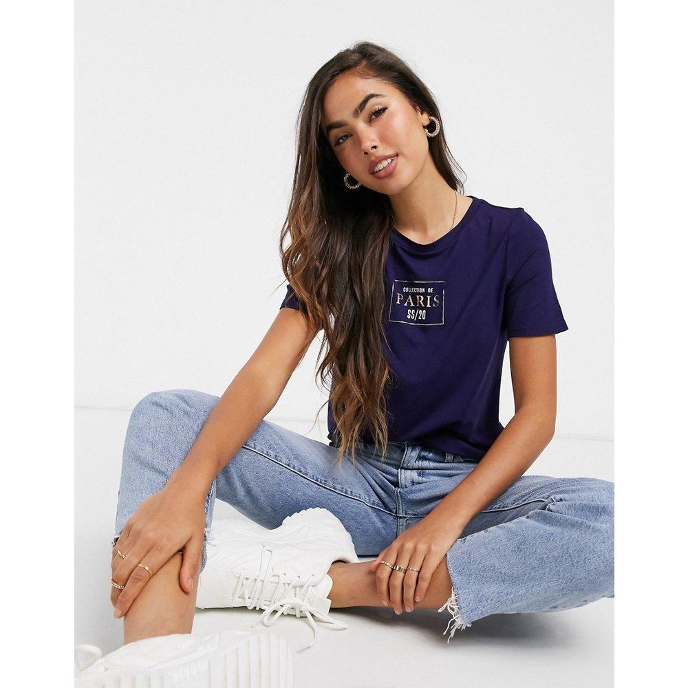 Paris - T-shirt avec slogan - Bleu marine - River Island - Modalova