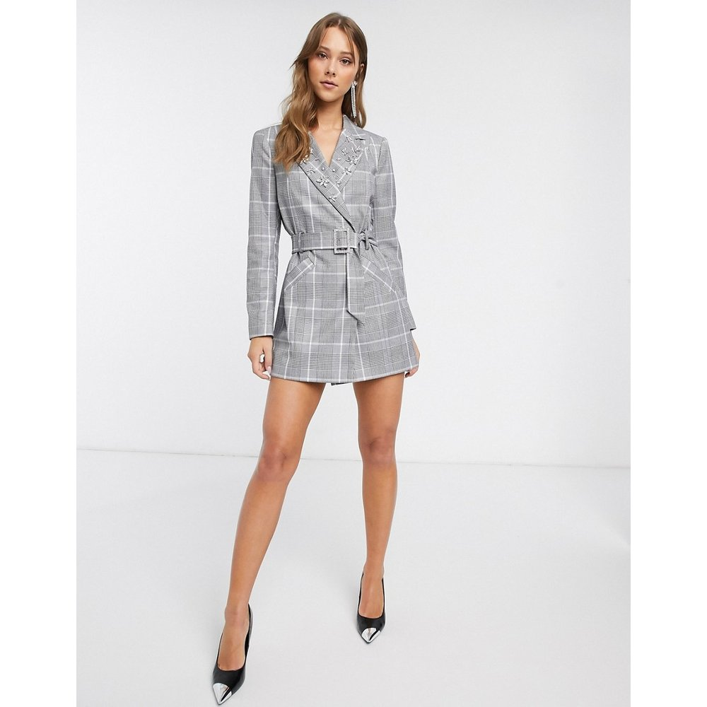 Robe blazer à carreaux et ornements - River Island - Modalova