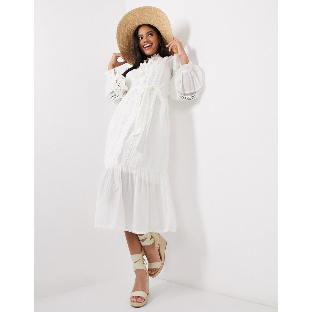 Robe chemise à manches bouffantes - Blanc - River Island - Modalova