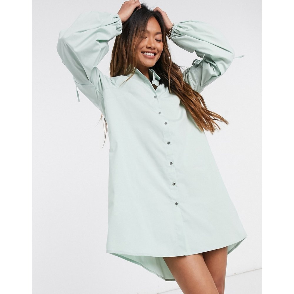 - Robe chemise courte en popeline avec manches froncées - River Island - Modalova