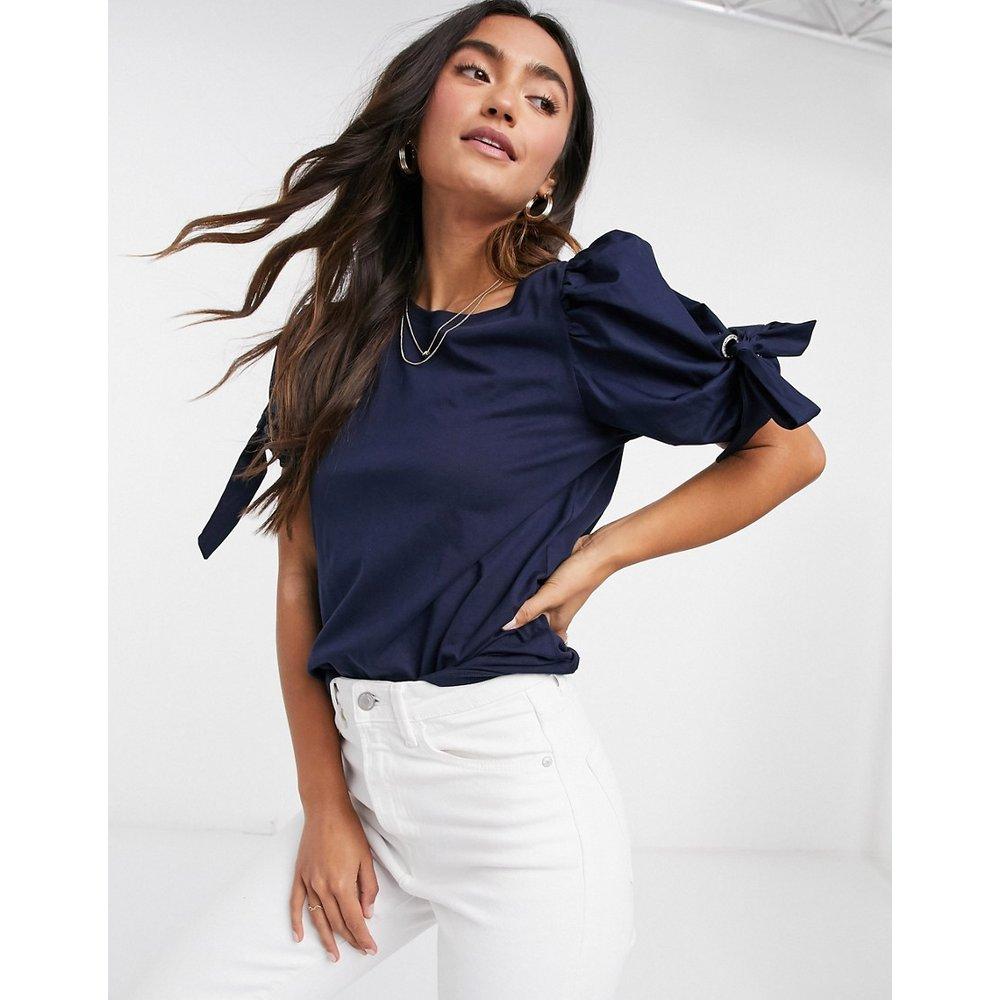 - T-shirt à manches bouffantes et oeillet - Bleu marine - River Island - Modalova