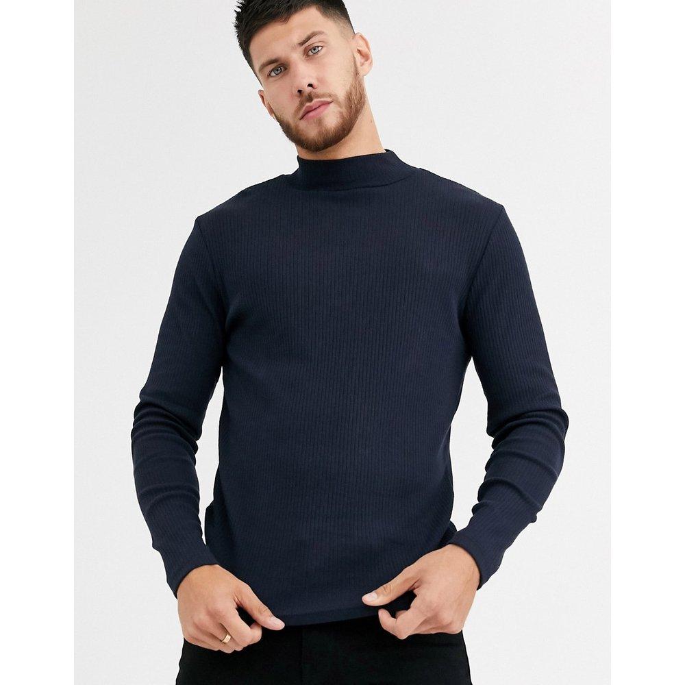 T-shirt côtelé à manches longues et col montant - Bleu marine - River Island - Modalova