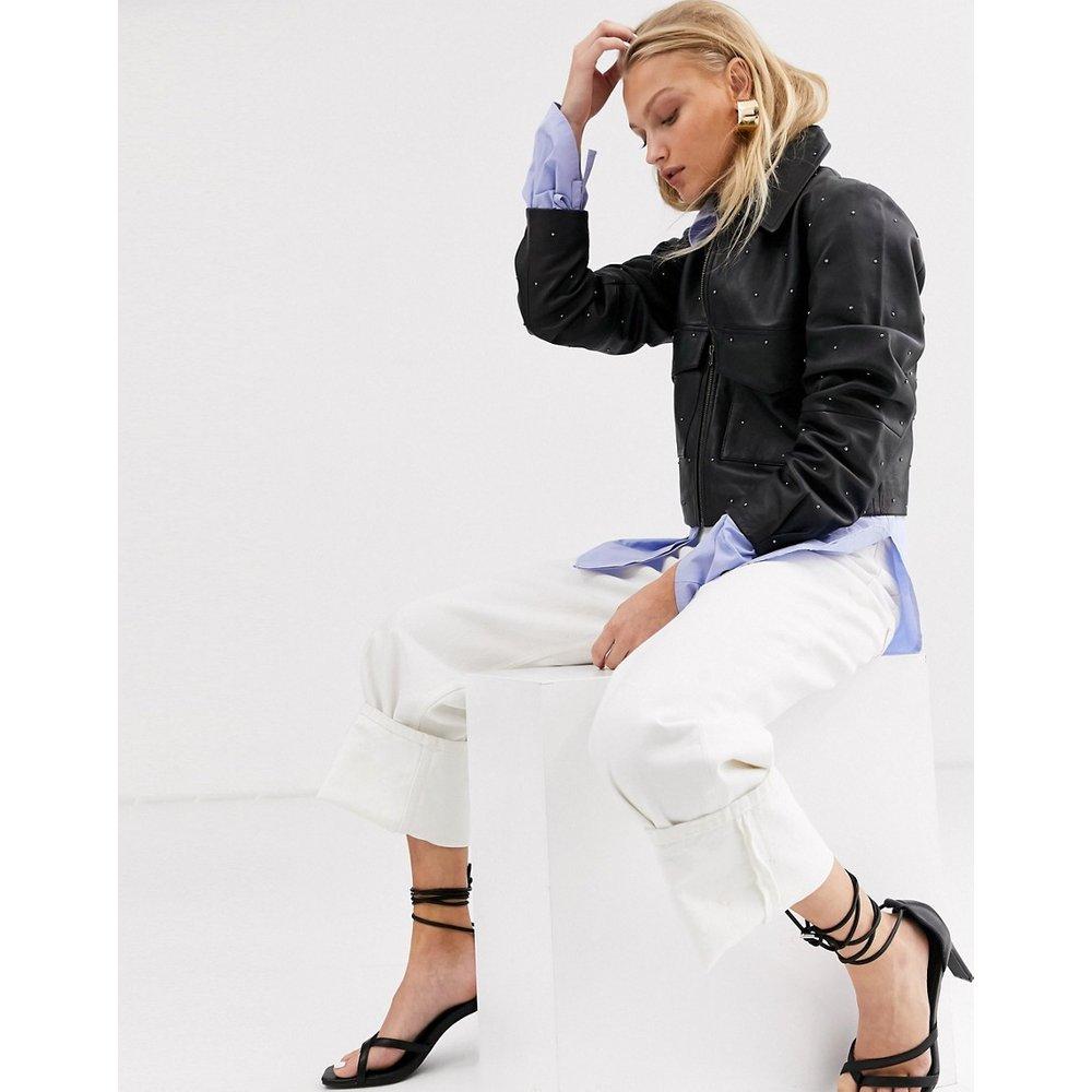 Veste en cuir cloutée coupe carrée - Selected - Modalova