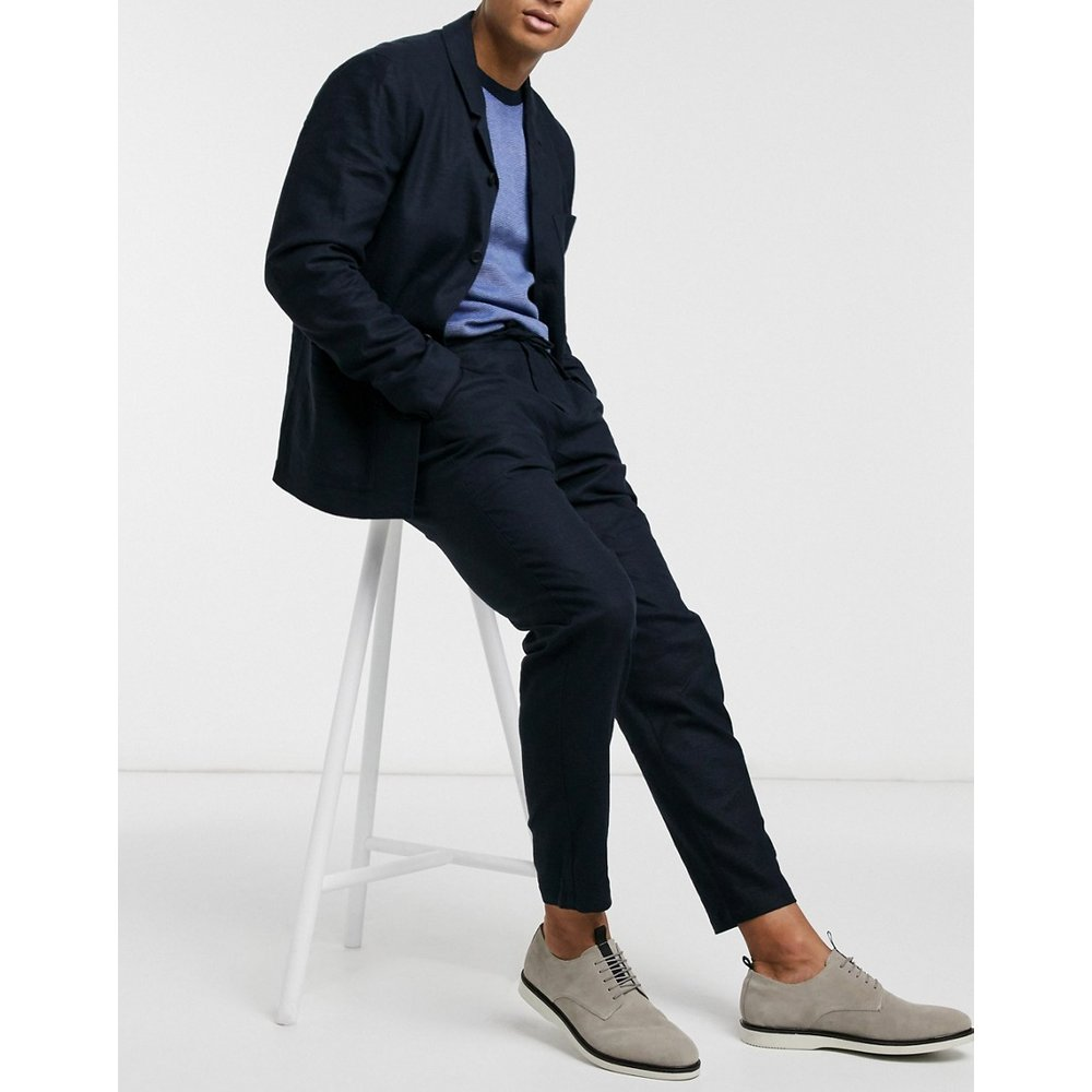 Pantalon de costume slim en lin mélangé fuselé - Bleu marine - Selected Homme - Modalova