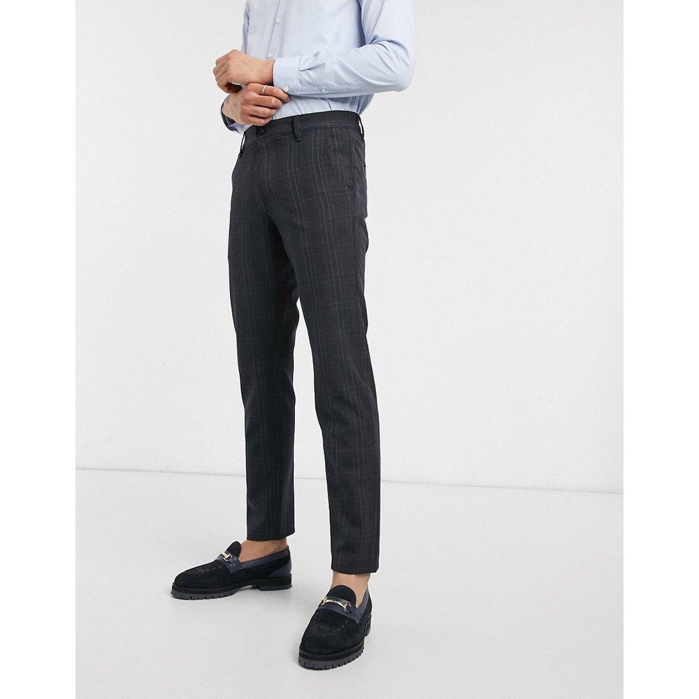 Pantalon stretch habillé à carreaux coupe slim - Bleu marine - Selected Homme - Modalova