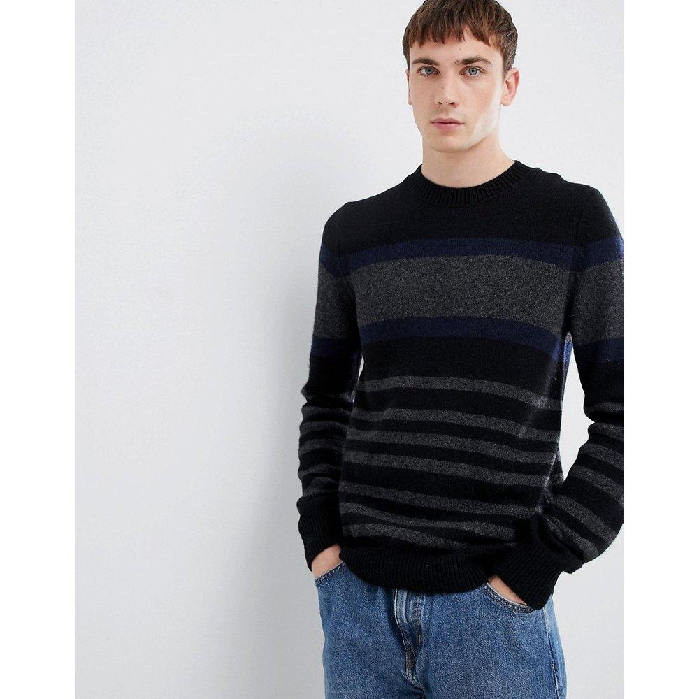 Pull en laine d'agneau avec rayures color block - Selected Homme - Modalova