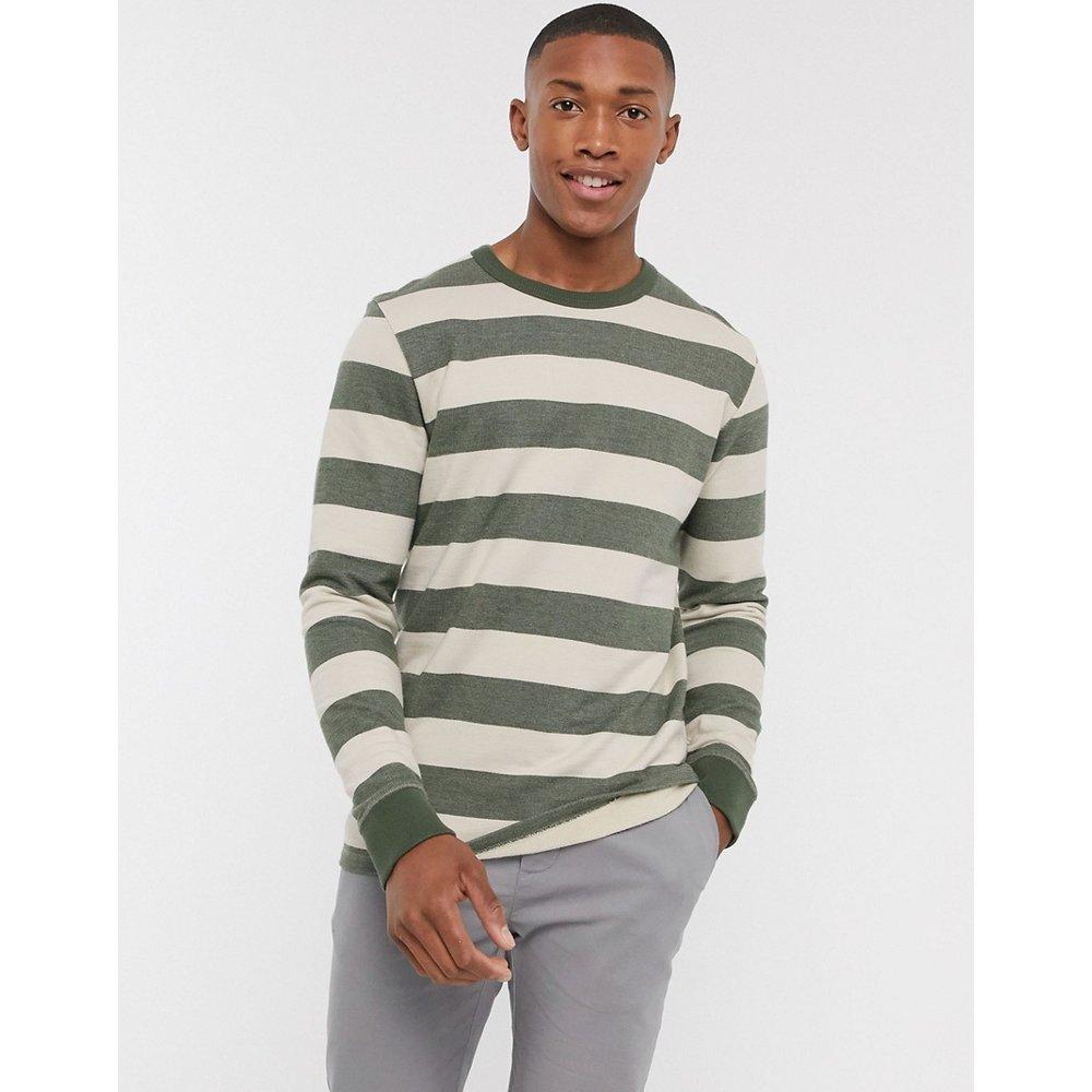 Sweat-shirt ras de cou en coton biologique épais à rayures style marinière - cassé - Selected Homme - Modalova