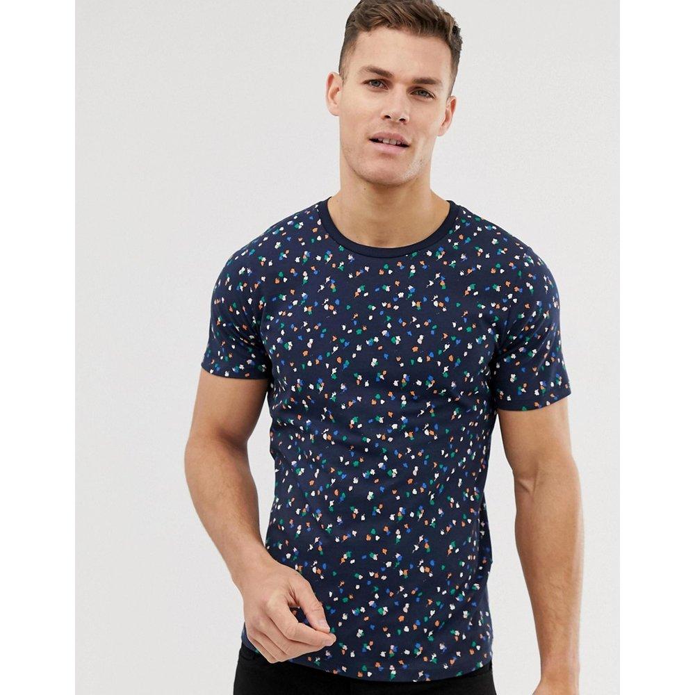 T-shirt à imprimé géométrique - Bleu marine - Selected Homme - Modalova