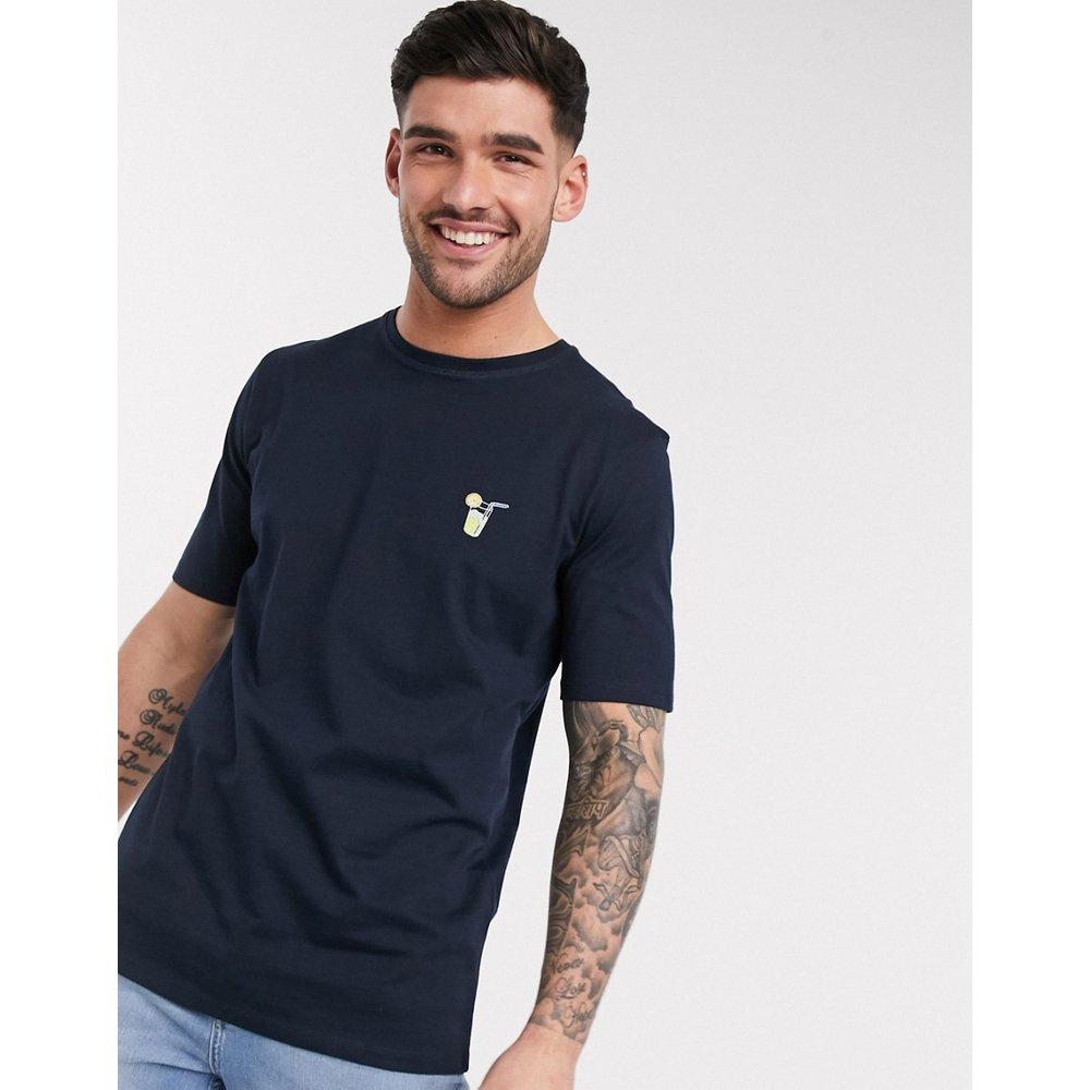 T-shirt à logo brodé sur le devant - Bleu marine - Selected Homme - Modalova