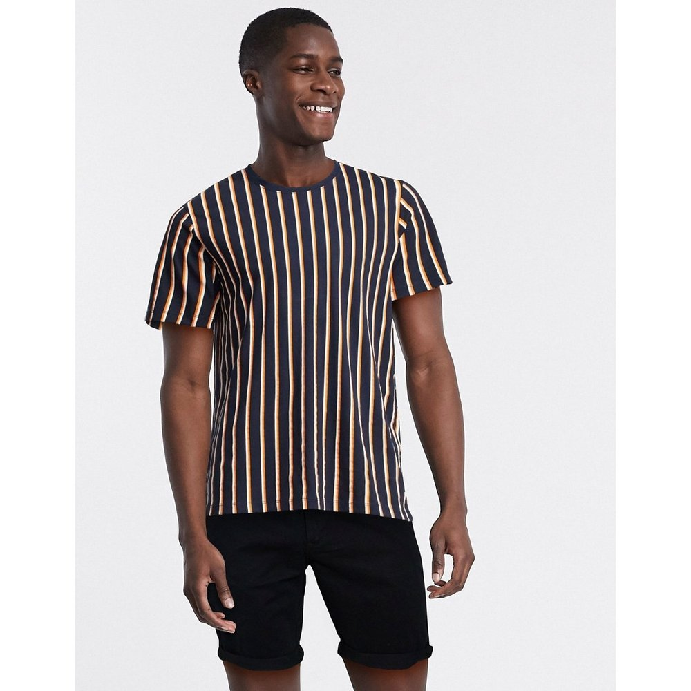 T-shirt en coton biologique à rayures verticales - Bleu marine - Selected Homme - Modalova