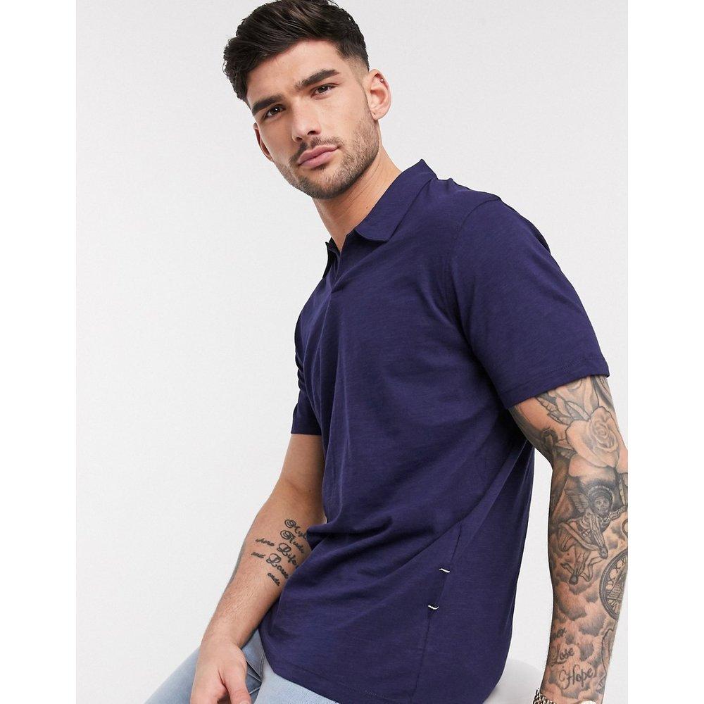 T-shirt en coton biologique avec col à revers - Bleu marine chiné - Selected Homme - Modalova