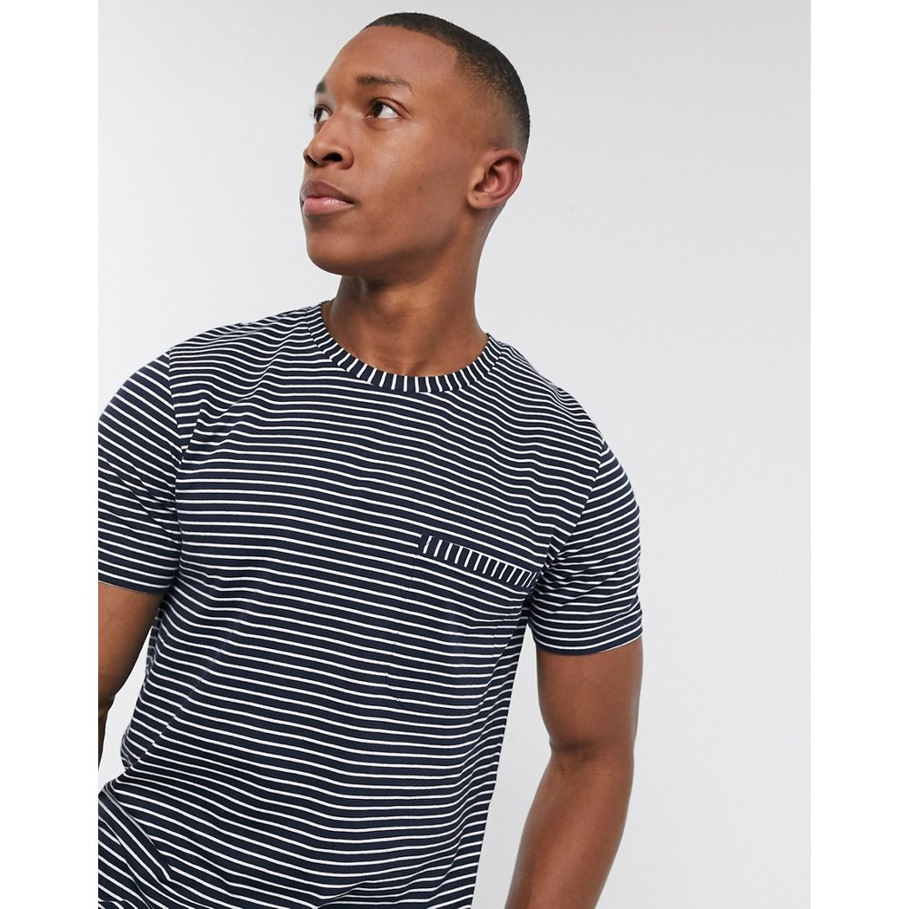 T-shirt en coton biologique avec poche à rayures - Bleu marine - Selected Homme - Modalova