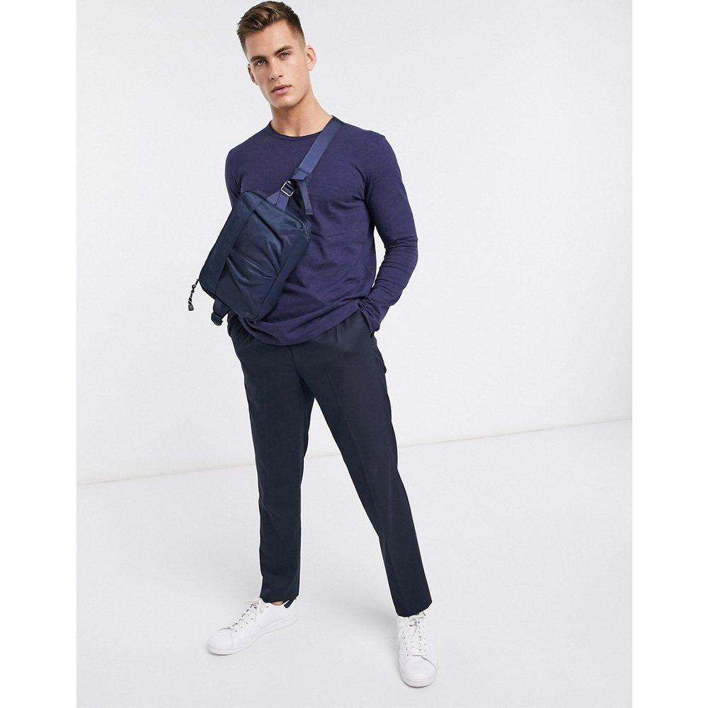 T-shirt en coton biologique avec poche et manches longues - Bleu marine - Selected Homme - Modalova
