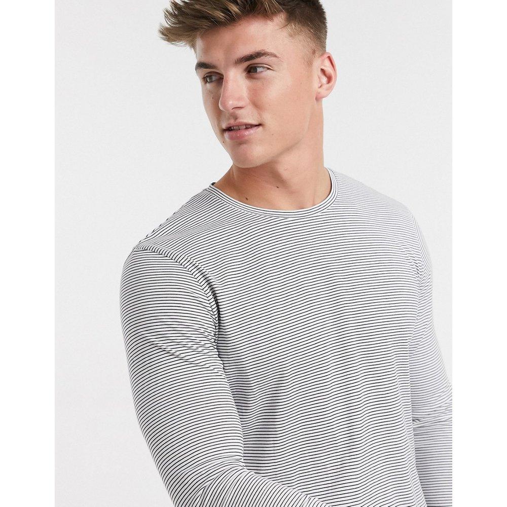 T-shirt long à fines rayures en coton biologique - Selected Homme - Modalova