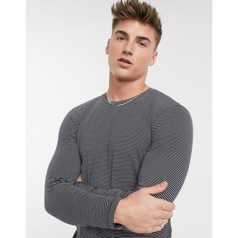 T-shirt manches longues en coton biologique à fines rayures - Bleu marine - Selected Homme - Modalova