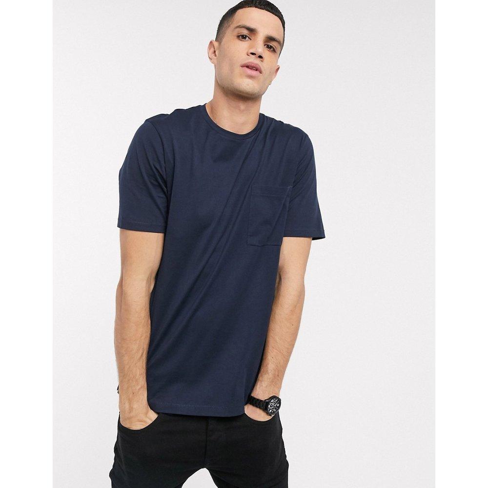 T-shirt oversize en coton biologique avec poche - Bleu marine - Selected Homme - Modalova
