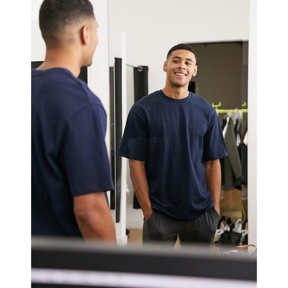 T-shirt oversizeen coton biologique épais - Bleu marine - Selected Homme - Modalova