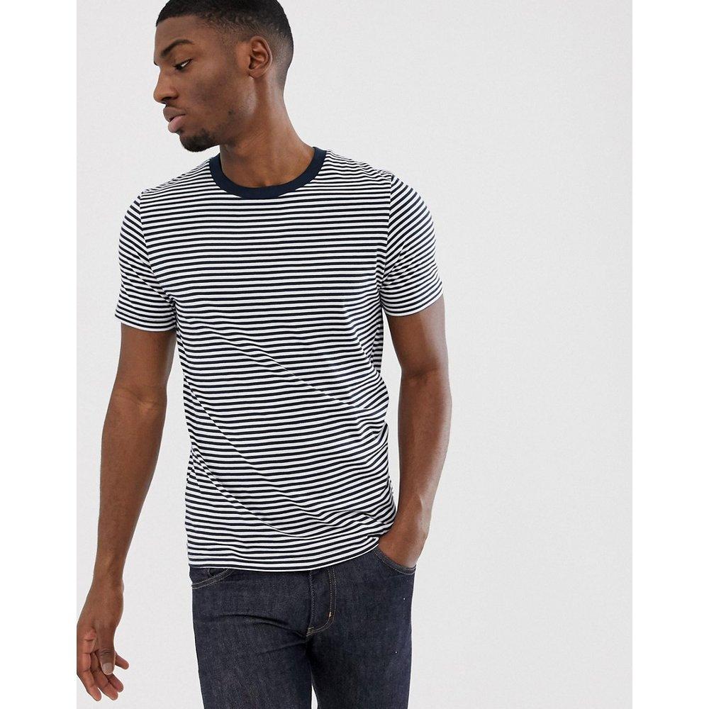 The Perfect Tee - T-shirt en coton pima à rayures - Bleu marine - Selected Homme - Modalova